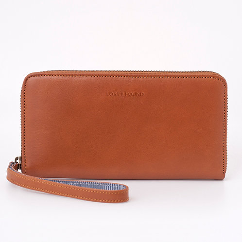 Zip Around Wallet Large Caramel    LOST&FOUND