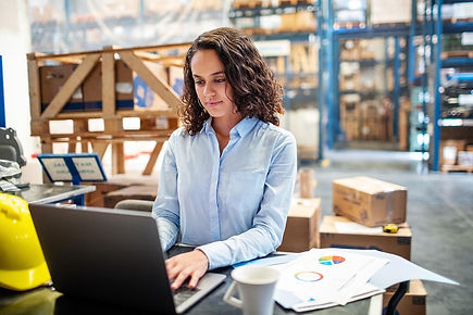 Businesswoman managing inventory in warehouse