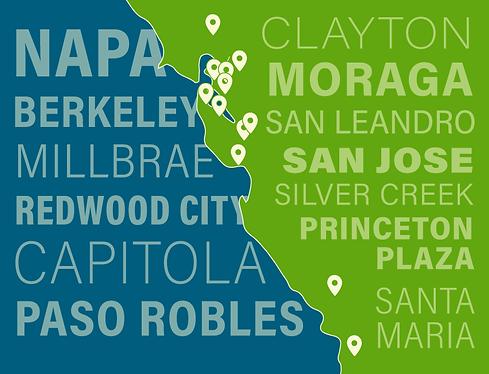 OSH locations: Napa, Berkeley, Millbrae, Redwood City, Capitola, Paso Robles, Clayton, Moraga, San Leandro, San Jose Silver Creek, San Jose Princeton Plaza, Santa Maria