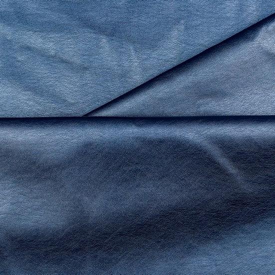 Simili cuir bleu métallisé