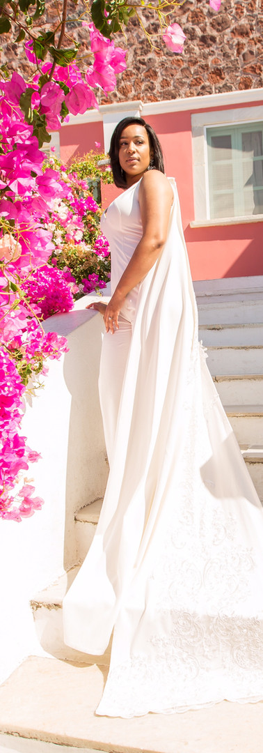 Custom Bridal Jumpsuit in Santorini Greece