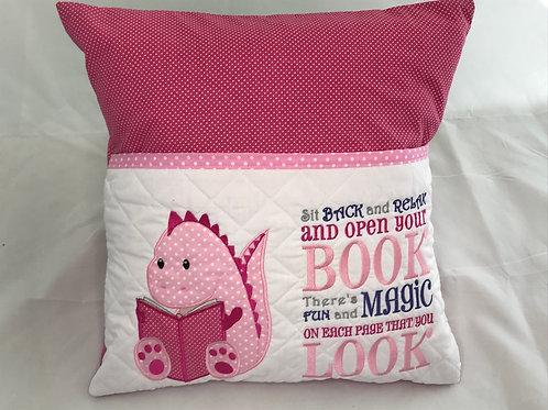 Pink Dinosaur  Pocket Cushion