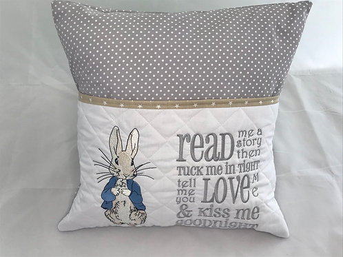 Peter Rabbit Grey Pocket Cushion