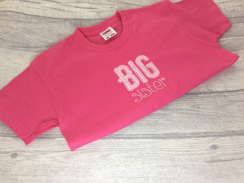 Big Sister T-Shirt Fuschia Pink