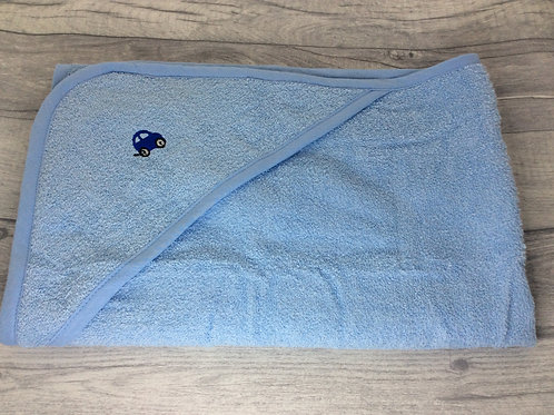 Blue Hooded Towel with Blue Car