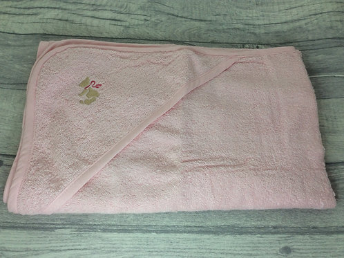 Pink Hooded Towel with Teddy