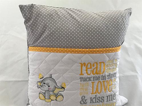 Yellow and Grey Elephant Pocket Cushion