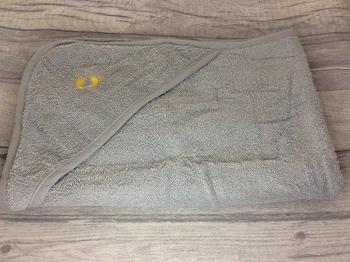 Grey Hooded Towel with Yellow Feet