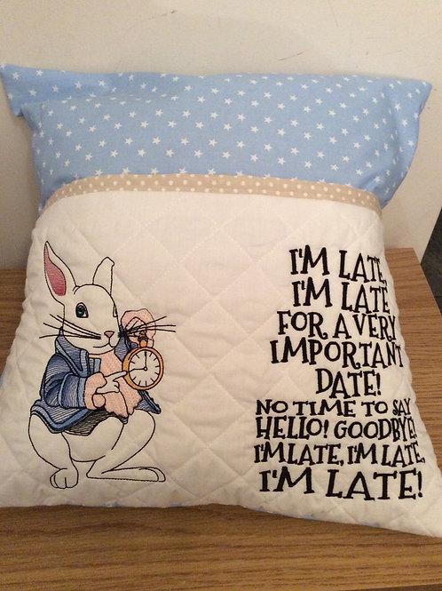 White Rabbit Book Pocket Cushion