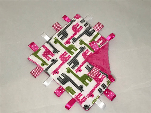 Pink Giraffe Taggy Comforter