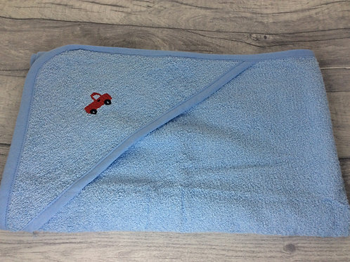 Blue Hooded Towel with Red Truck