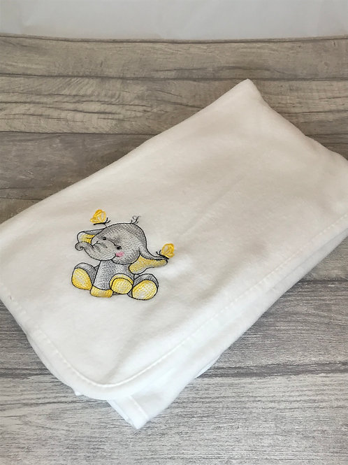 White Blanket with Yellow Elephant