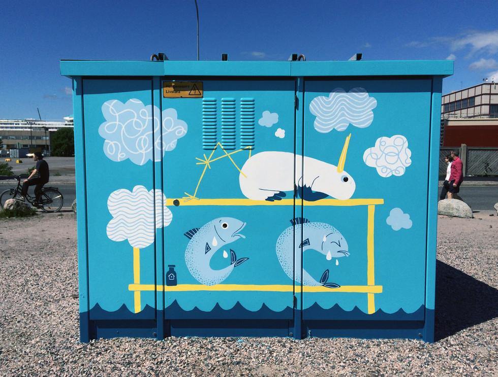 Transformer painting, Hernesaari Helsinki, Helen Sähköverkko Oy & G-REX, 2016