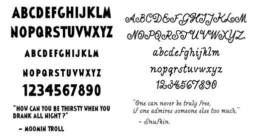 Moomin Font, Tammi Publishers 2013