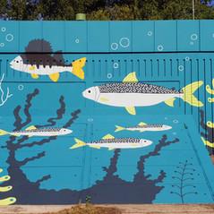 Pukinkulma pumping station mural, Vaasan Vesi & City of Vaasa, 2019