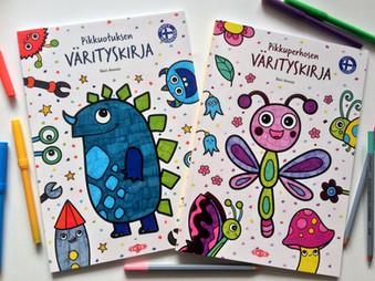 Pikkuotuksen värityskirja & Pikkuperhosen värityskirja coloring books, Tactic Publishing, 2017