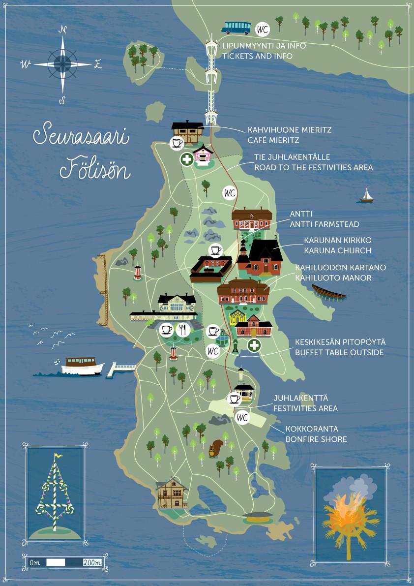 Map illustration for Seurasaari Foundation, Helsinki. 2018