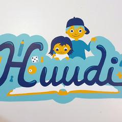 Guide sign mural for Kohtaamispaikka Huudi, Huutoniemi, City of Vaasa, 2019