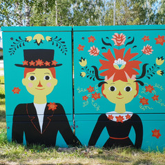 Summer wedding. Electrical cabinet painting, near to the Stundars outdoor museum, Sof, Korsholm, 2019