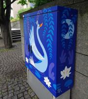 Swan Lake. Electrical cabinet painting, next to the Opera & Ballet House, Helsingin taidekatu, Helsinki Urban Art ry, 2017