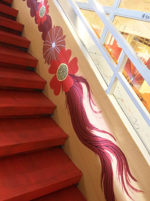 Staircase mural, Martinkeskus Mall, Vantaa, G-REX, 2016