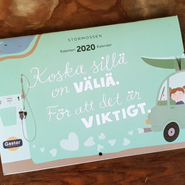 Illustrations for Stormossen's 2020 wall calendar. Katinka Kreative Oy/Stormossen Oy, 2019