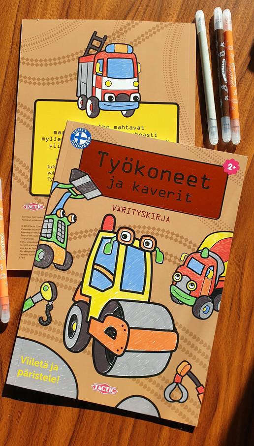 Työkoneet ja kaverit, Coloring book, Tactic Publishing, 2019