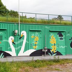 Onkilahti pumping station mural, Vaasan Vesi & City of Vaasa, 2019