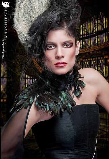 Asymmetrical Corset Dress W Featherd Shoulder