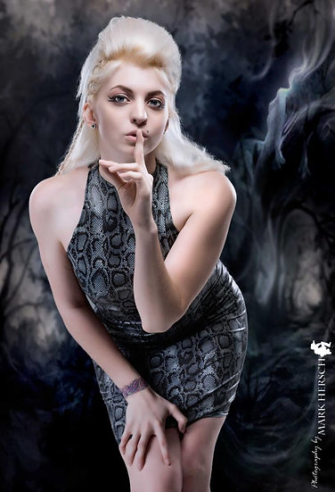 Stretch Snake Skin Print Dress