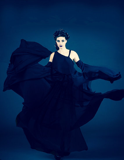 One Shoulder Black Chiffon Dress