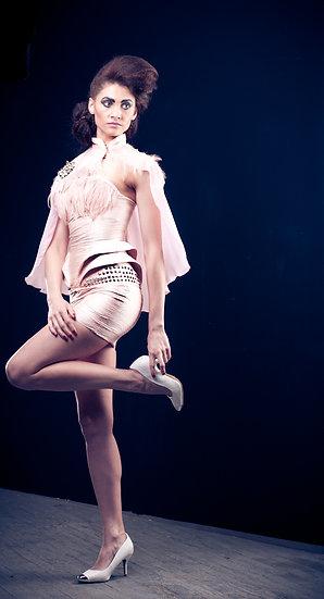 Blush corset skirt and caplet