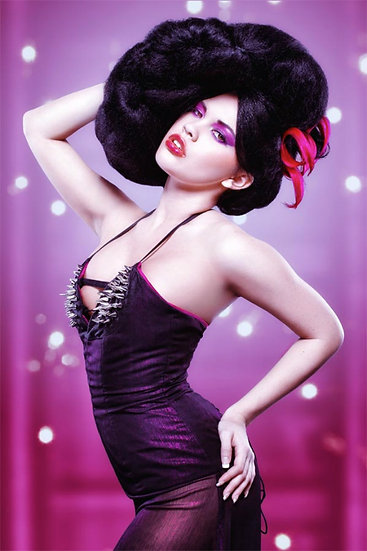 Fuchsia Corset Dress with Spikes and Train