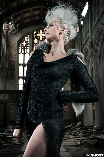 Cowl Dress High Slit Sleeve Cut Outs Fox Fur