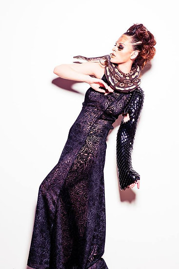 Paisley Burnout Dress with Scale Mail Manica