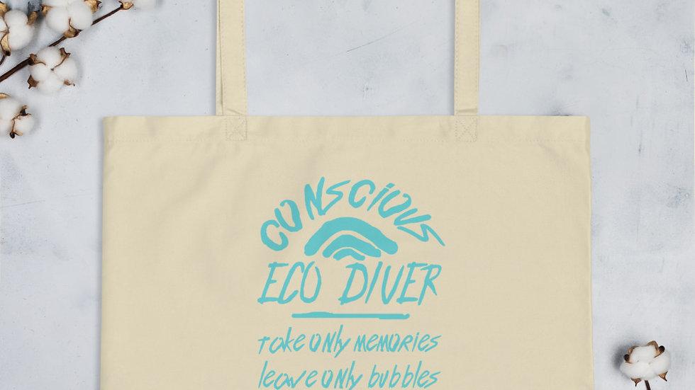 Eco-Conscious Diver x Large Organic Tote Bag