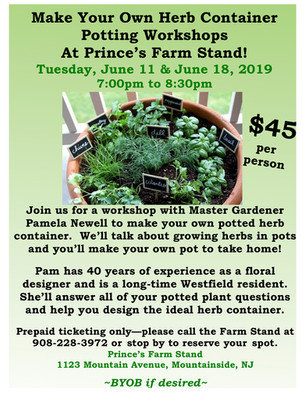 Tue., 6/11 & Tue., 6/18 Potting Workshops: Make Your Own Herb Container from 7pm-8:30pm