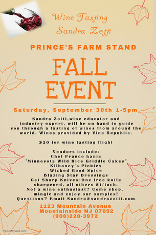 Fall Event at Prince's Farm Stand on Saturday, September 30th from 1-5pm (featuring Wine Tasting
