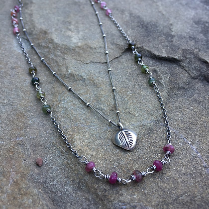 Double Strand Silver & Tourmaline Necklace