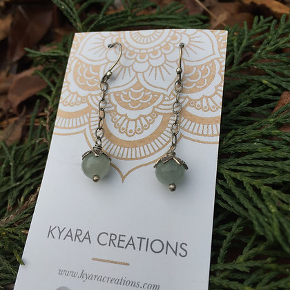Aquamarine Chain Drop Earrings