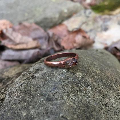 Electroformed Brazilian Tourmaline Crystal Ring (Size 7)