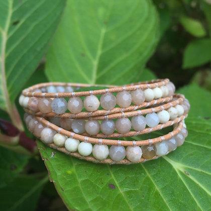 Peach Sunstone & Riverstone 3x Gemstone Wrap
