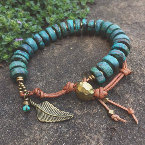 Chunky Turquoise and Leather Feather Bracelet