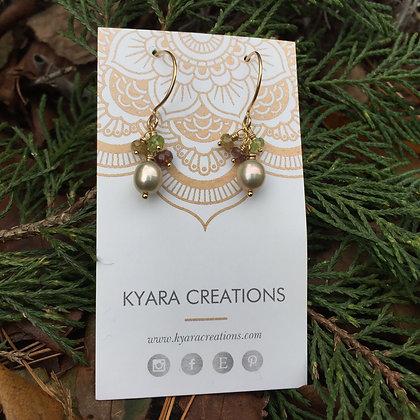 Freshwater Pearl & Gemstone Cluster Earrings