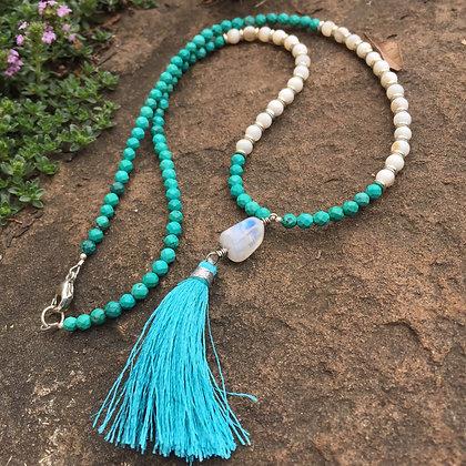Turquoise Gemstone & Shell Mini Mala