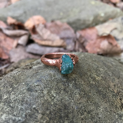 Electroformed Blue Apatite Crystal Ring (Size 5.75)