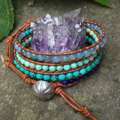 Seascape 4x Wrap Bracelet on Light Leather