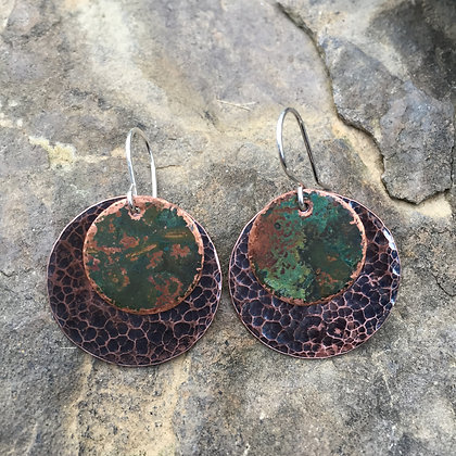 Antique Green Hammered Copper Disc Earrings