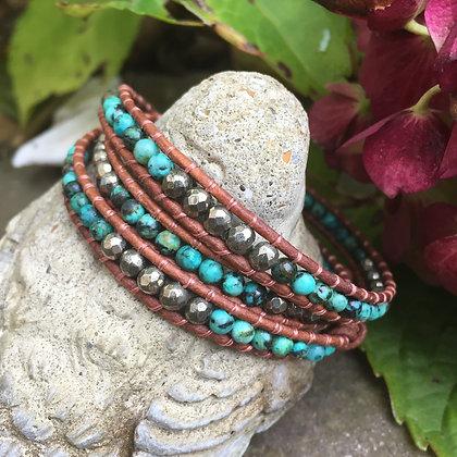 African Turquoise & Hematite 3x Gemstone Wrap (Light)