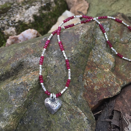 Ruby Jade & Fine Silver Stamped Heart Necklace